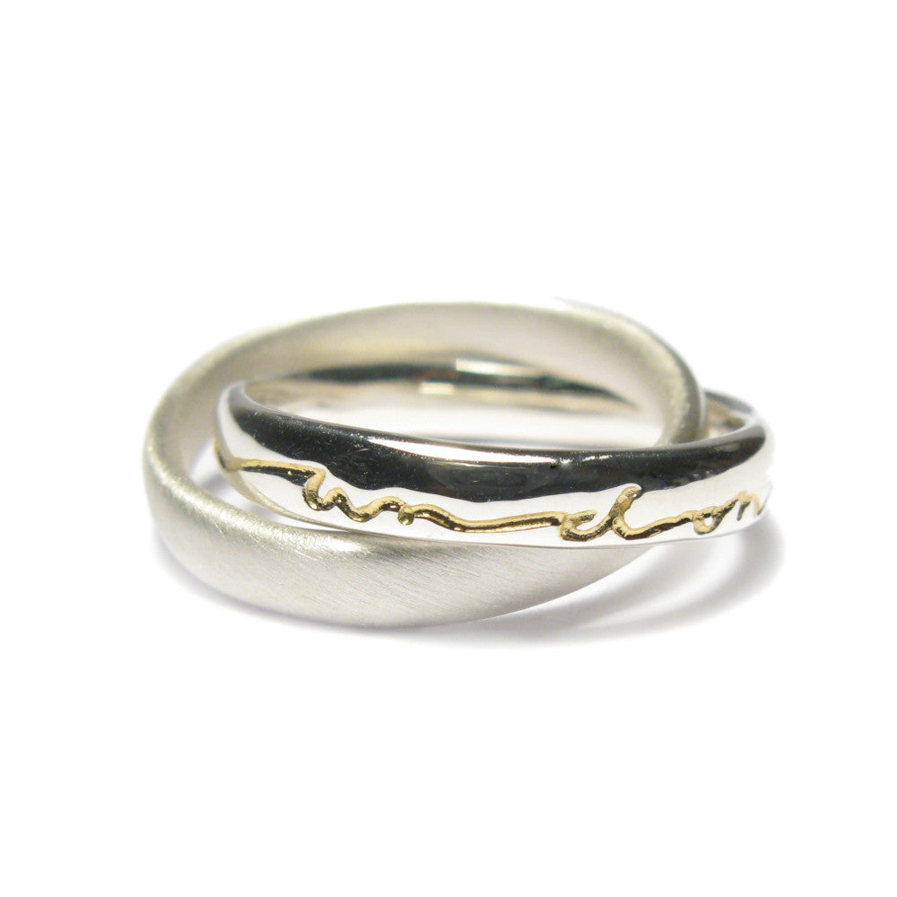 Diana porter Jewellery contemporary silver gold etched intertwined rings