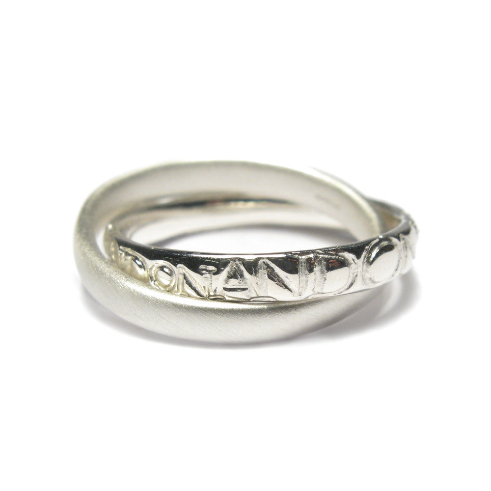 Diana porter Jewellery contemporary silver etched intertwined rings