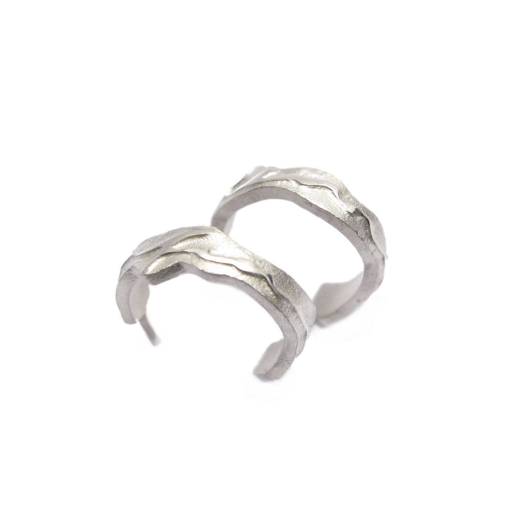 Diana Porter Jewellery contemporary etched small silver hoop earrings