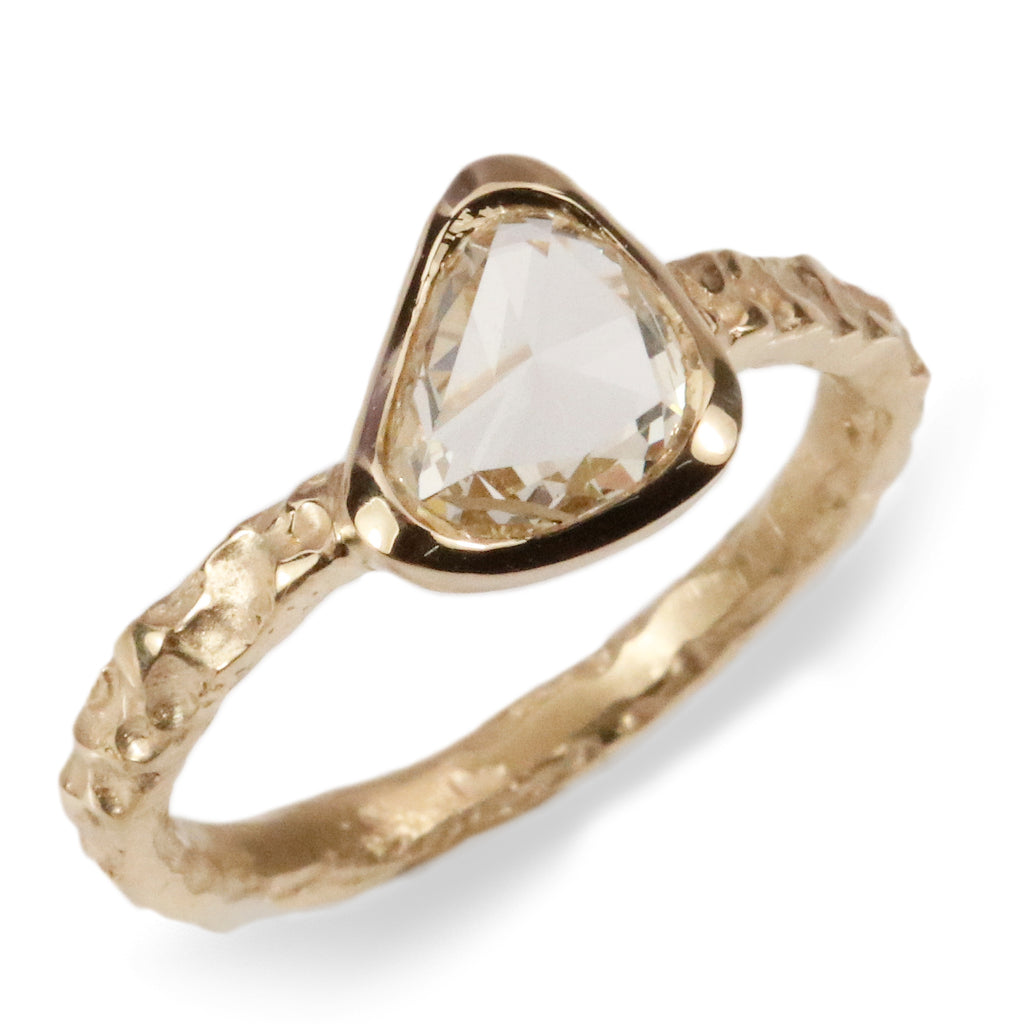 18ct fairtrade yellow gold molten ring set with 1.03ct freeform rose cut diamond
