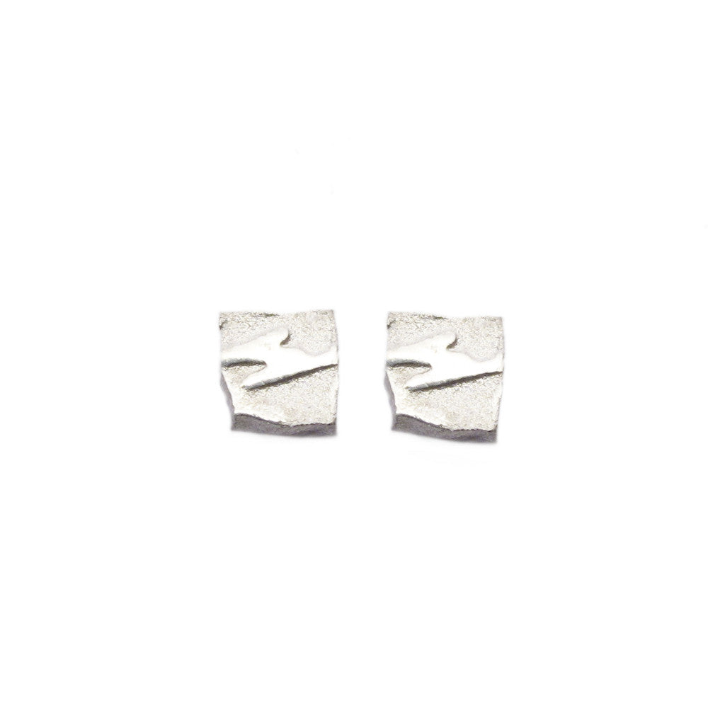 Diana Porter Jewellery contemporary etched tiny silver stud earrings