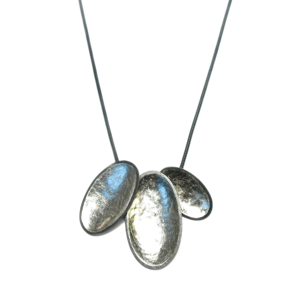 Jenifer Wall - White Gold Leaf Triple Pendant