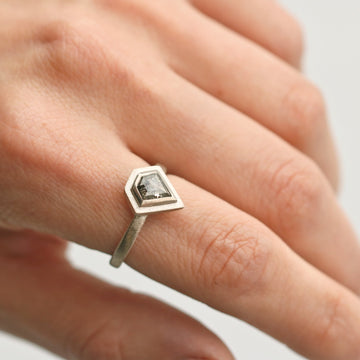 18ct White Gold 'One-Of-Kind' Ring Set with Kite Rose Cut Diamond