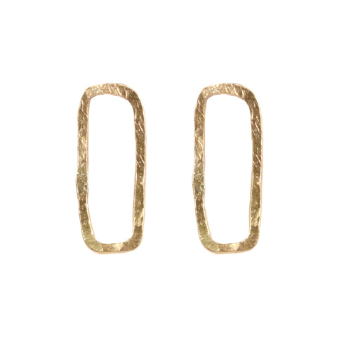 Lucy Spink Open Rectangle Gold Studs