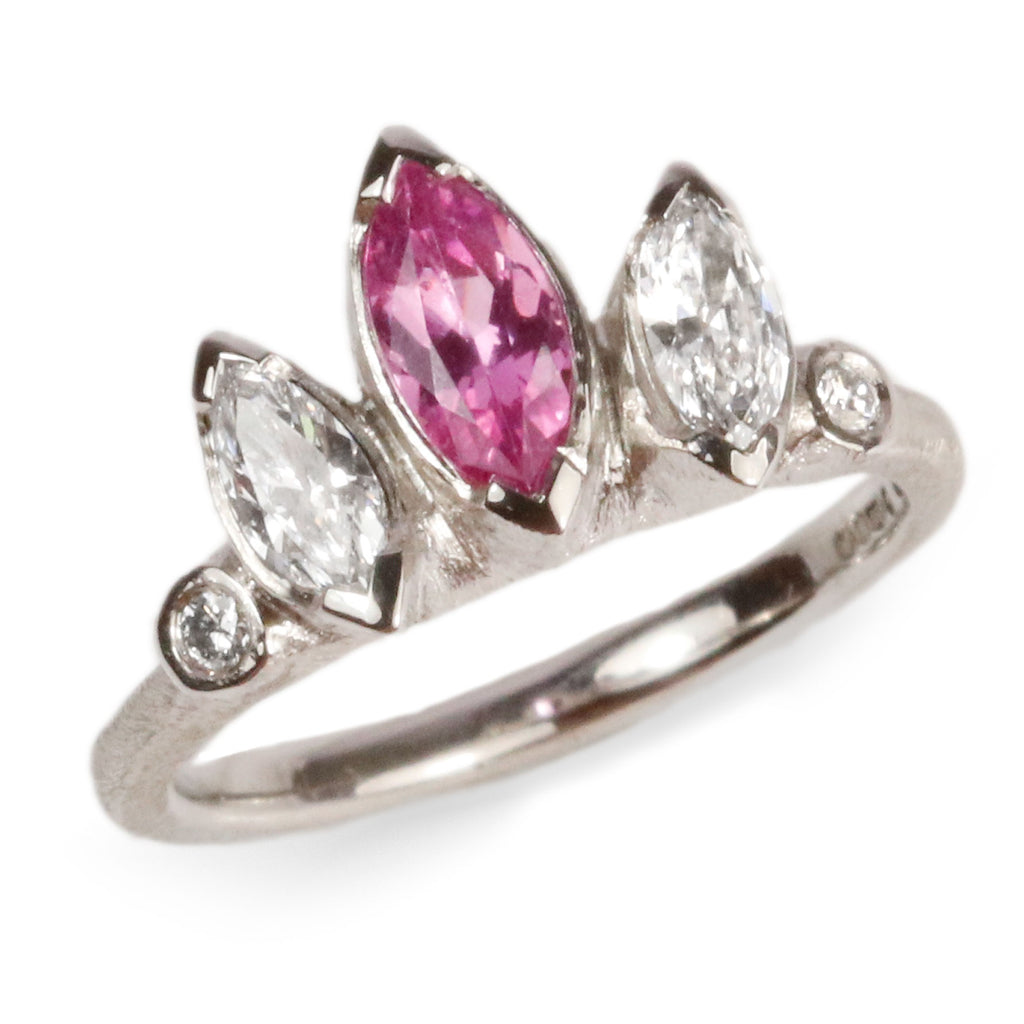 Platinum Ring with Pink Sapphire and Diamonds