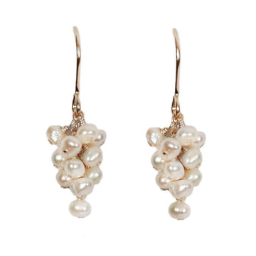Mounir gold plate and pearl cluster drop earrings