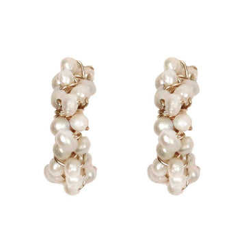 Mounir gold plated and white pearl cluster mini hoops