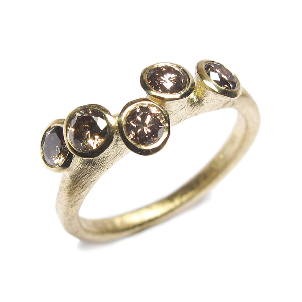 18ct White Gold Multi Set Ring with Five Champagne Diamonds