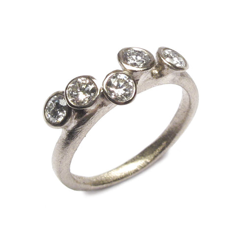 18ct White Gold Multi Set Ring with Five Brilliant Cut Diamonds