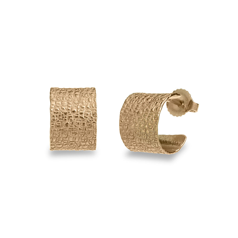 Mim Best gold plated small stamp hoops