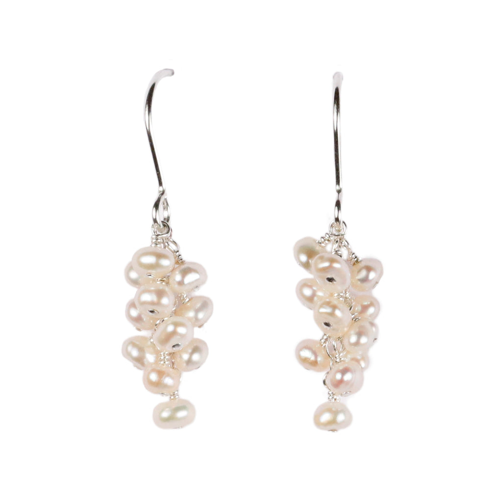 Mounir silver and pearl cluster drop earrings