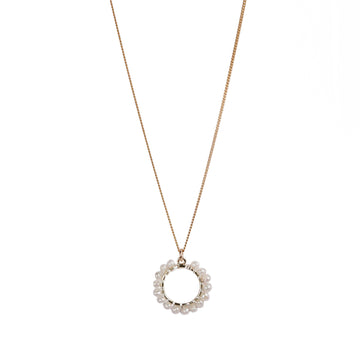 Mounir gold plated white pearl circle necklace
