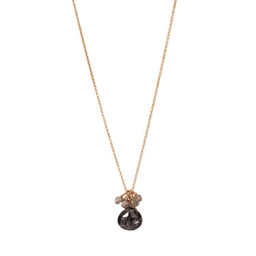 Mounir Black rutilated quartz briolette necklace
