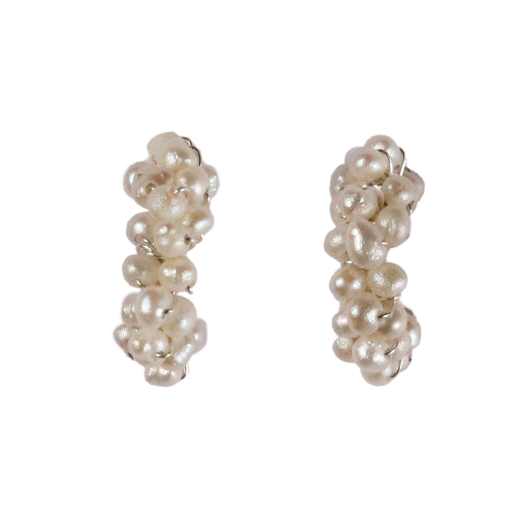 Mounir silver and white pearl cluster mini hoops
