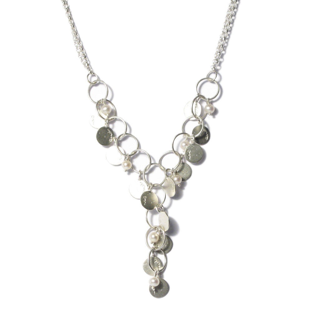 Diana Porter Jewellery contemporary etched silver pearl necklace