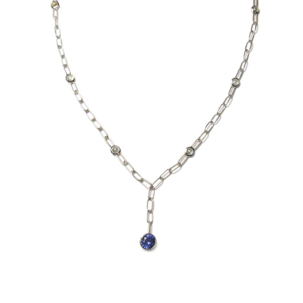 Diana Porter Contemporary Jewellery Bespoke Commission gold diamond necklace sapphire necklace