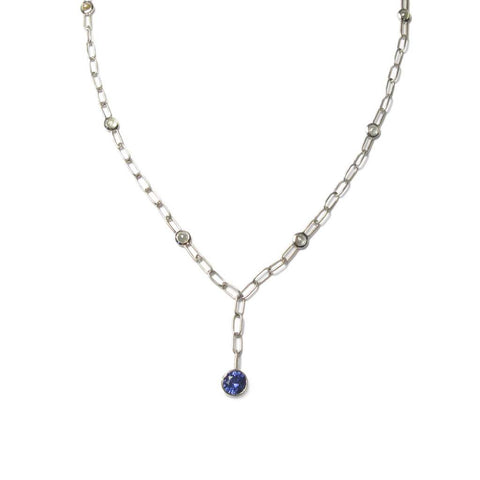 Bespoke - Handmade Gold Chain Necklace, with Blue Sapphire and Rose Cut Diamonds