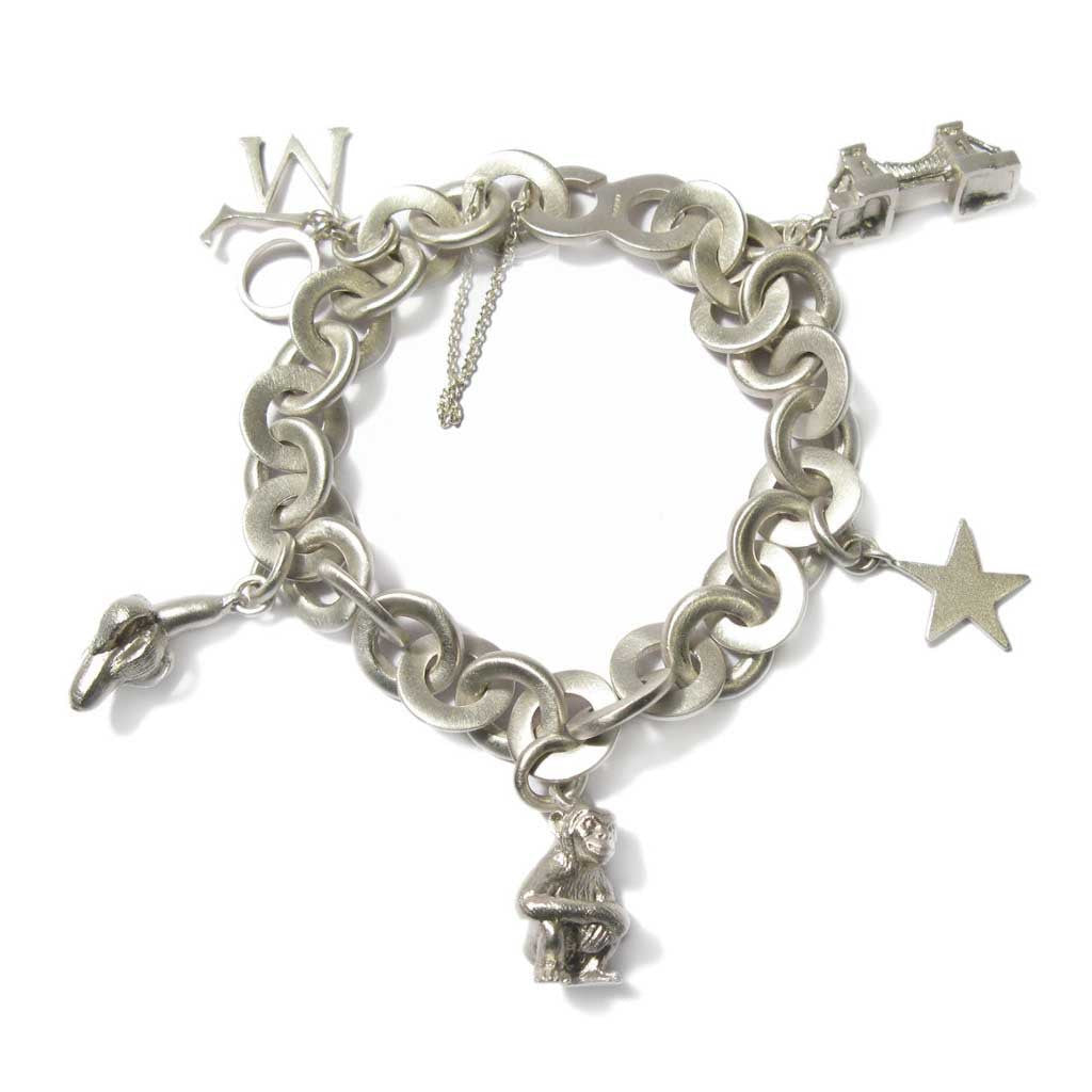 Diana Porter Contemporary Jewellery Bespoke Commission white gold charm bracelet