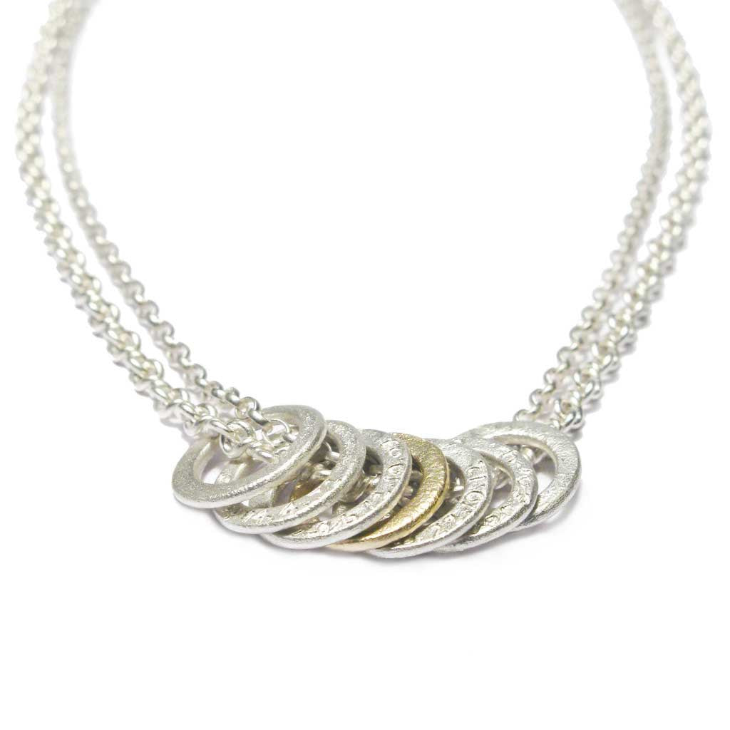 Diana Porter Contemporary Jewellery Bespoke Commission etched link silver gold necklace