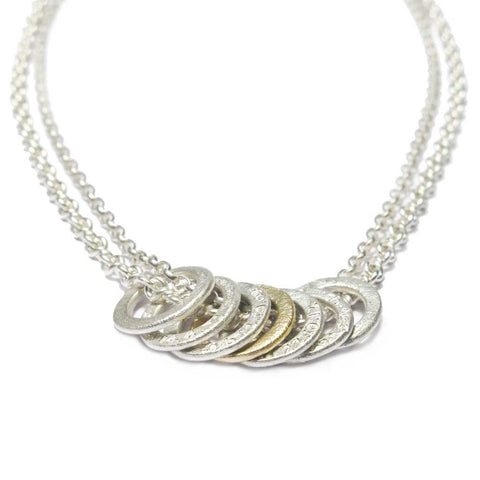 Bespoke - Silver and Gold Necklace with Handmade Etched Links