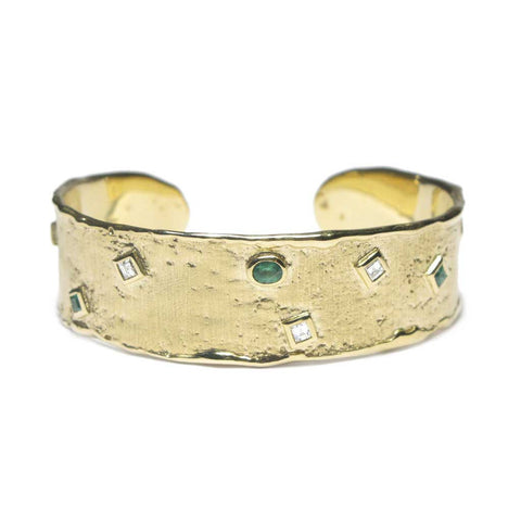 Bespoke - Heirloom Gold Cuff, with Princess Cut Emeralds and Diamonds
