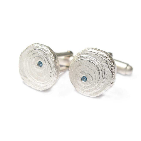 Bespoke - Silver Cufflinks set with Personalised Birth Stones