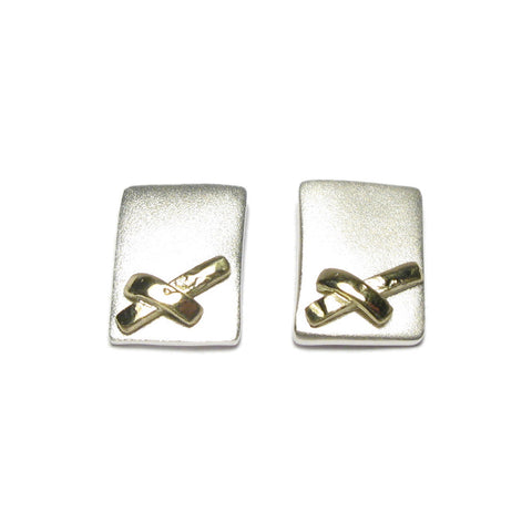 Silver and Yellow Gold Kiss Ear Studs