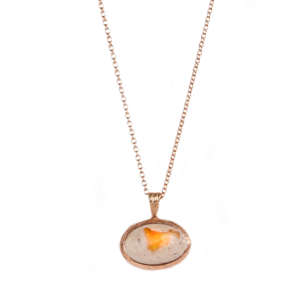 9ct Rose Gold Etched Textured Pendant with Oval Opal.
