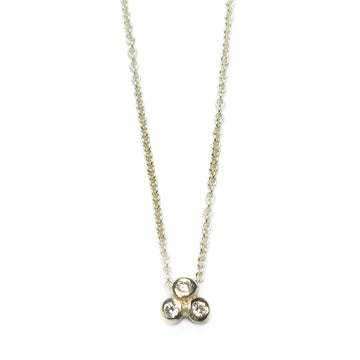 9ct Yellow Gold and Three Diamond Necklace