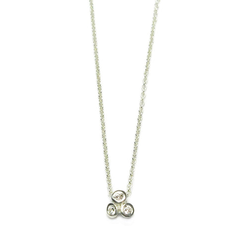 9ct White Gold and Three Diamond Necklace