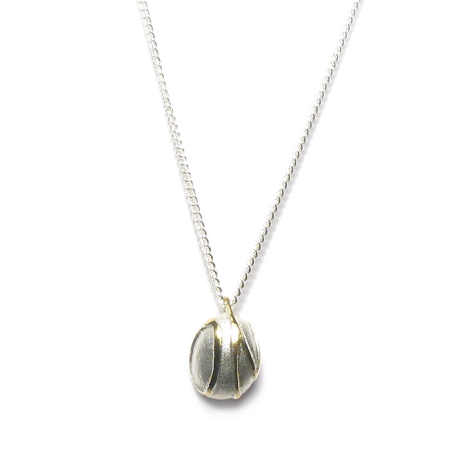Diana Porter Jewellery contemporary etched silver gold pebble necklace