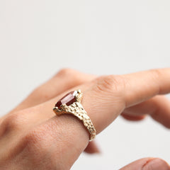 9ct Gold Molten'One-Of-Kind' Ring with Hexagonal Rose Cut Diamond