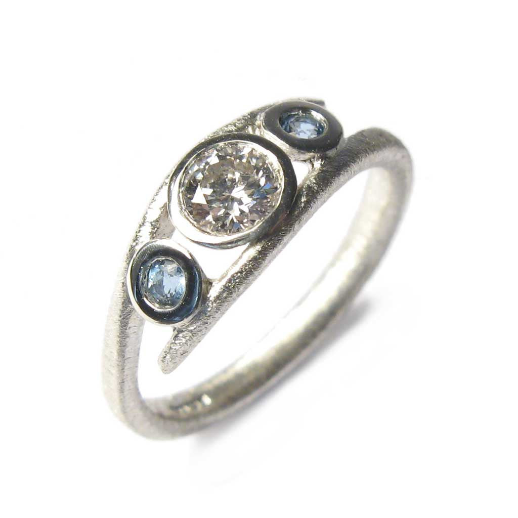 Diana Porter Jewellery bespoke commission diamond aquamarine platinum ring