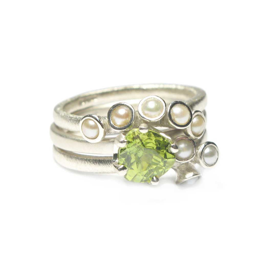 Diana Porter Jewellery bespoke commission pearl and peridot white gold rings