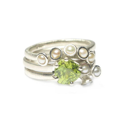 Bespoke - White Gold Stacking Rings, using Heirloom Pearls and Peridots