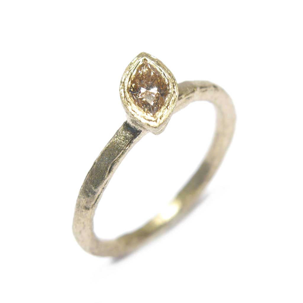 Diana Porter Jewellery bespoke commission champagne marquise diamond yellow gold engagement ring