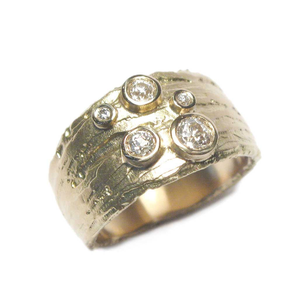Diana Porter Jewellery bespoke commission customers own diamonds yellow gold ring
