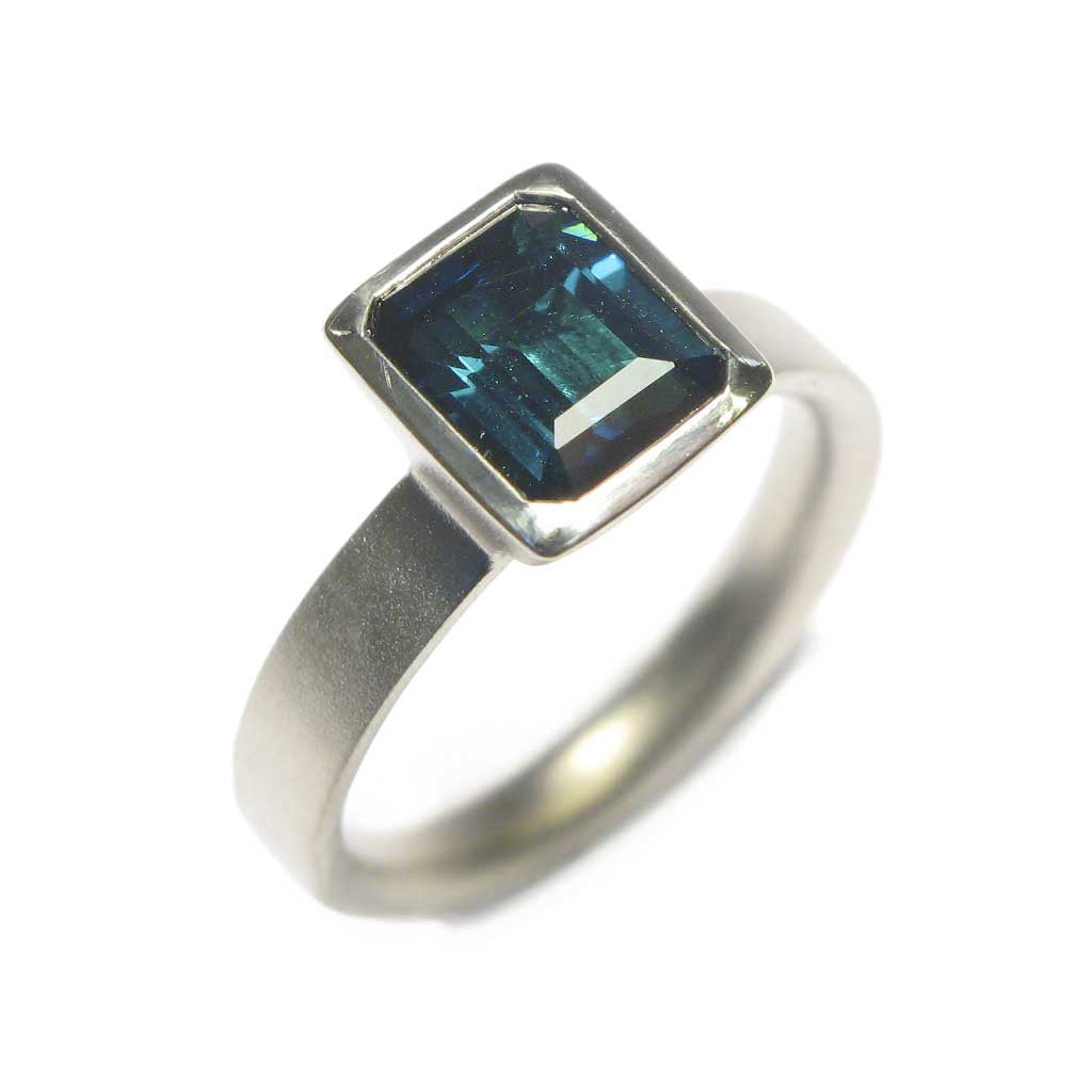 Bespoke - Blue Tourmaline and White Gold Ring