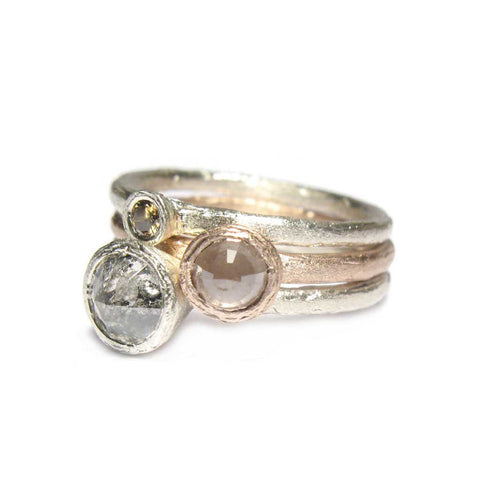 Bespoke - Rose Cut, Natral and Salt & Pepper Diamond Stacking Rings