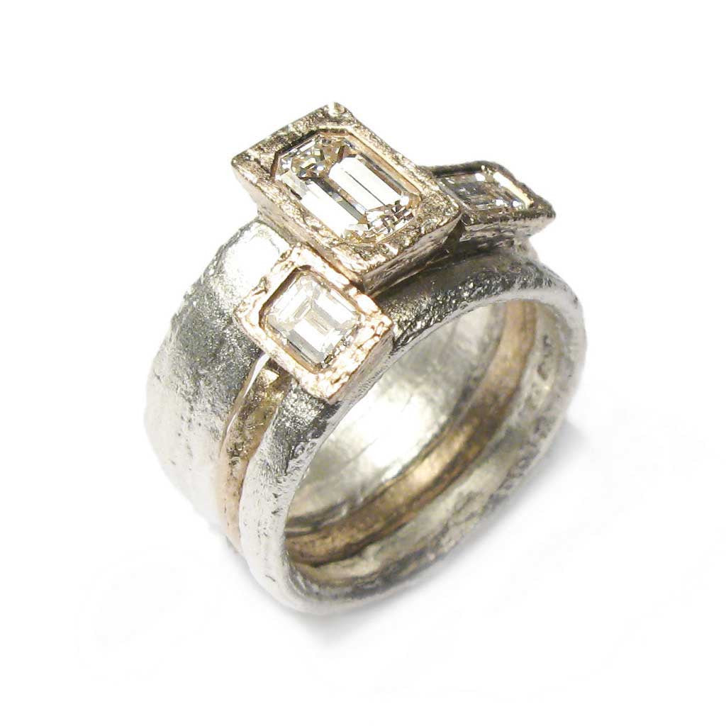 Diana Porter Jewellery bespoke commission recycled diamond and gold stacking rings