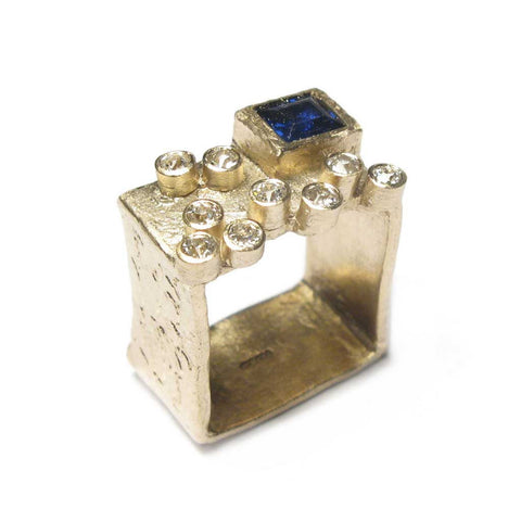 Bespoke - Square Ring, using Heirloom Gold, Diamonds and Sapphires