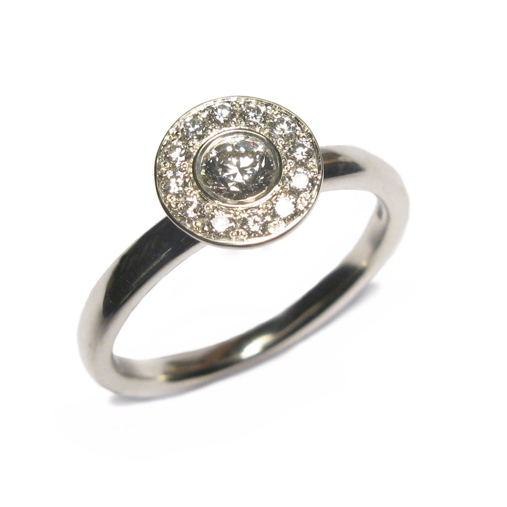 Bespoke - White Gold and Diamond Halo Ring