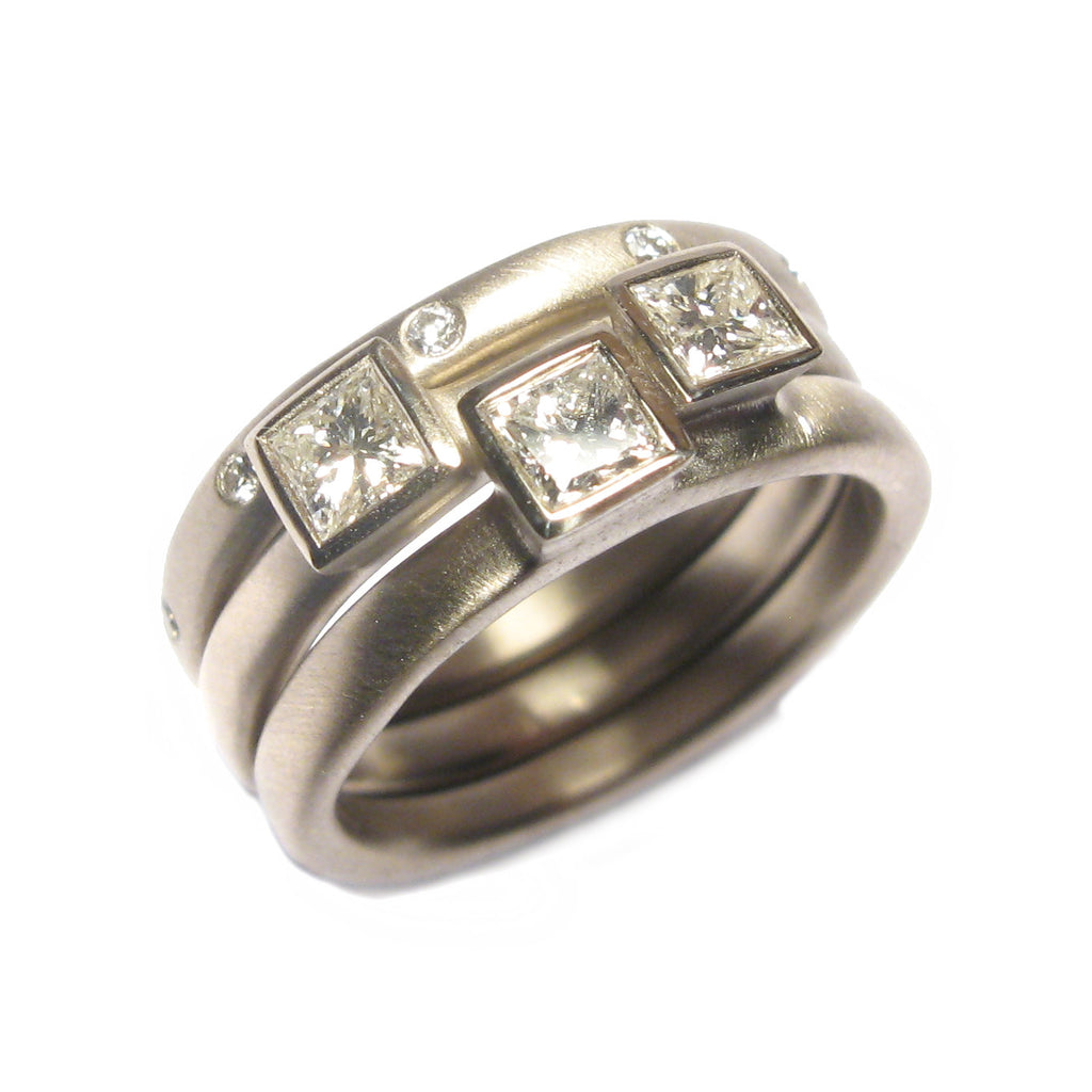 Bespoke - Heirloom Gold and Princess Cut Diamond Stacking Rings