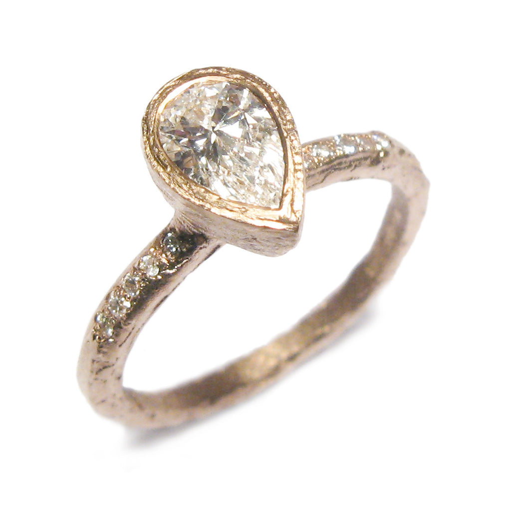 Bespoke - 0.50ct Pear Cut Diamond and Rose Gold Ring