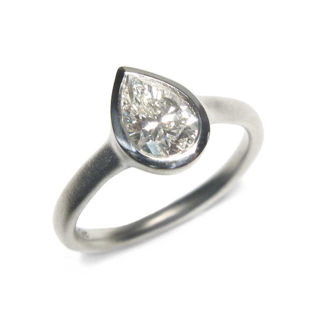 Diana Porter Jewellery bespoke commission platinum and pear diamond engagement ring