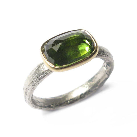 Bespoke - Cushion Cut Green Tourmaline and palladium Ring