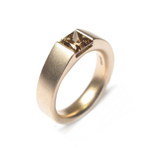 Bespoke - Princess Cut Brown Diamond and Yellow Gold Ring