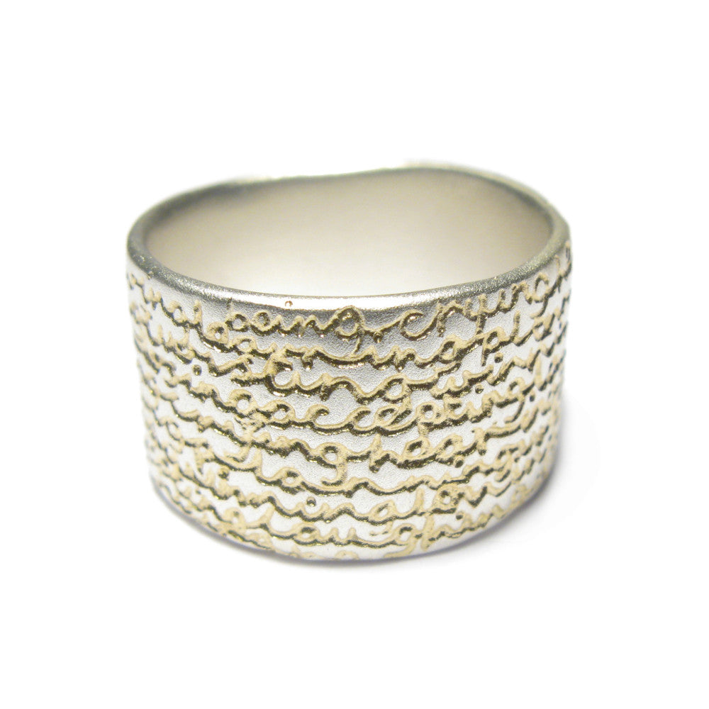 Diana Porter Jewellery contemporary wide etched being silver gold ring
