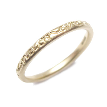 Diana Porter Contemporary Bristol Jewellery, Bespoke etching thin stacking ring in 9ct yellow gold