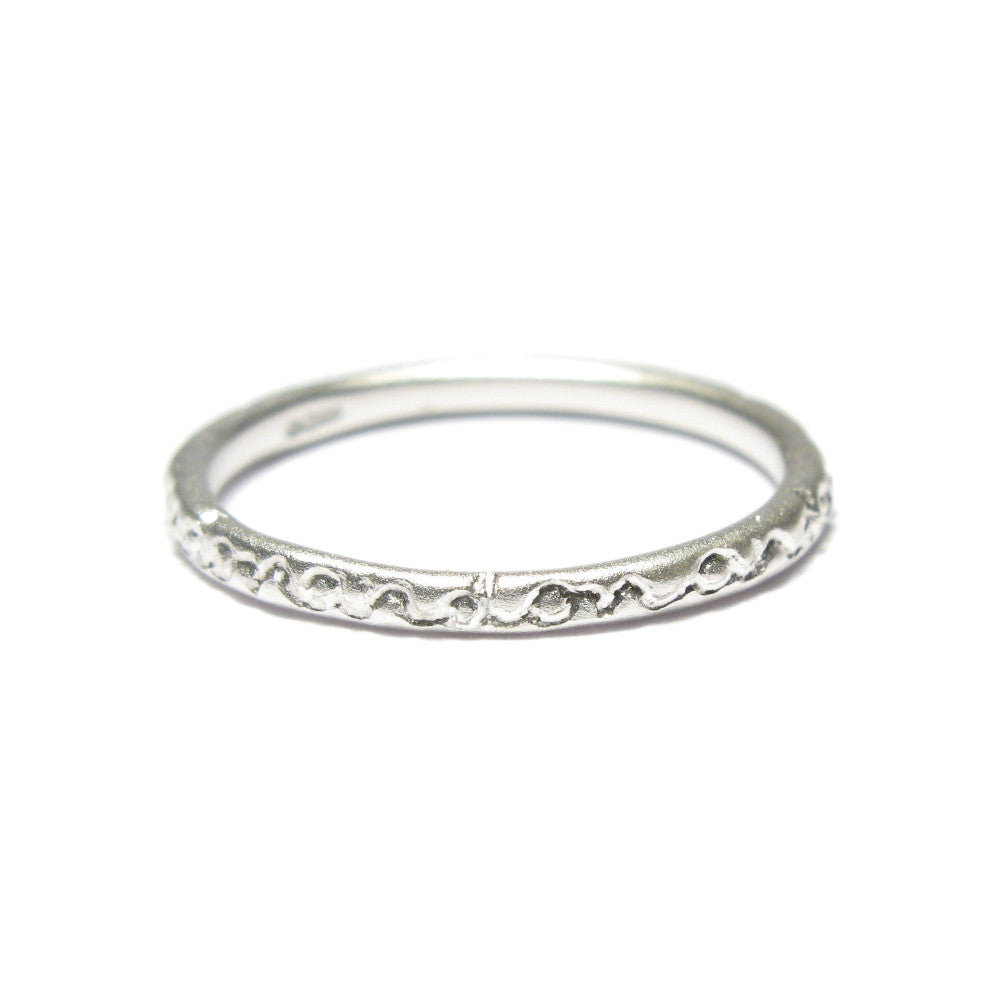 Diana Porter Jewellery contemporary etched on and on silver stacking ring